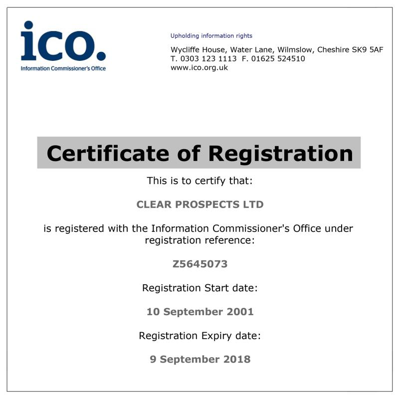 Clear Prospects Ltd Data Protection Act Renewal Certificate